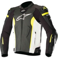 ALPINESTARS MISSILE TECH AIR LEATHER JACKET BLACK WHITE FLURO YELLOW