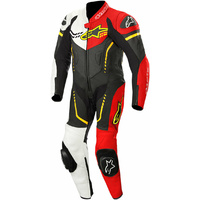 ALPINESTARS GP PLUS YOUTH 1 PIECE SUIT BLACK WHITE FLURO YELLOW FLURO RED