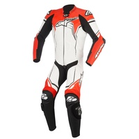 ALPINESTARS GP PLUS LEATHER SUIT BLK WHITE FLURO RED