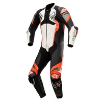 ALPINESTARS ATEM V4 LEATHER SUIT - WHITE BLACK FLURO RED GREY