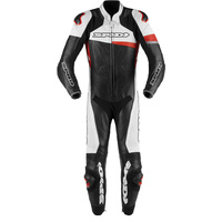 SPIDI 1PCE RACE WARRIOR PERFORATED LEATHER SUIT BLACK WHITE RED
