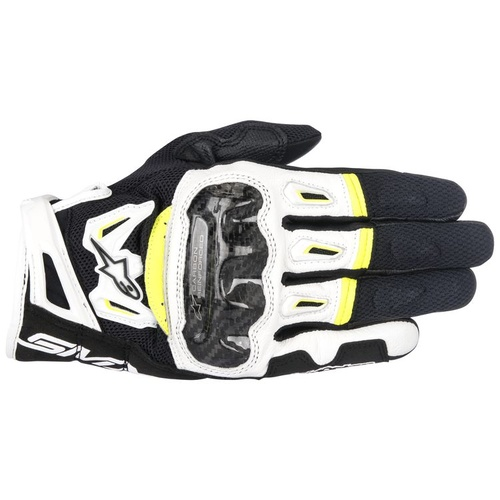 ALPINESTARS SMX 2 AIR CARBON v2 GLOVES BLACK WHITE FLURO YELLOW